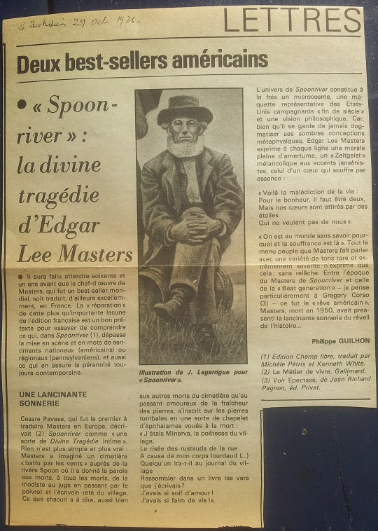 Spoon River, Edgar Lee Masters - Critique, Philippe-Guilhon, Le Quotidien 1976