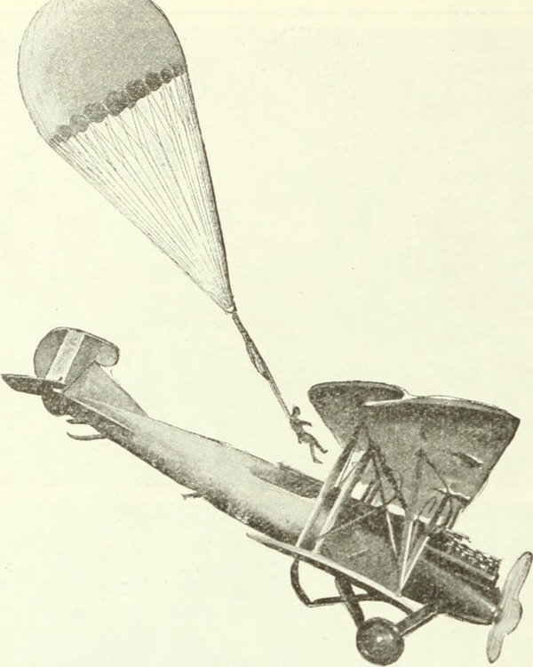 "Avion et parachute - Plane and parachutist - Image from page 1459 of ""The literary digest"" (1890)"